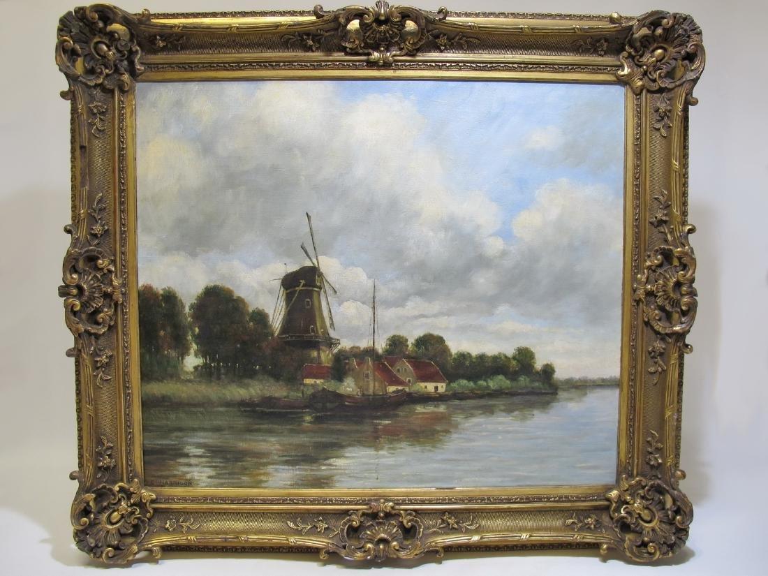 Antique signed E. HARRISON oil on canvas landscape