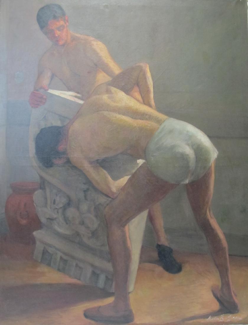 Vintage huge nude oil on canvas painting, signed