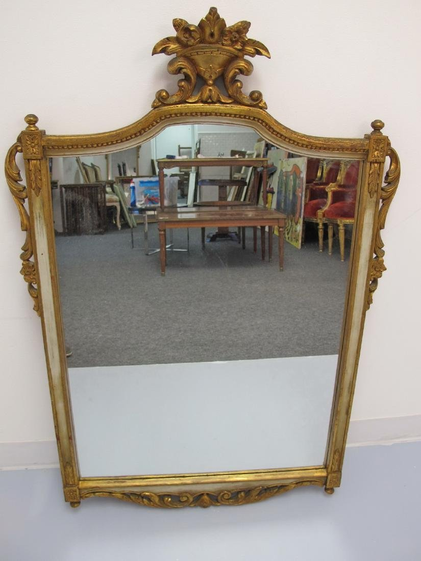 Antique French Louis XVI style gilt wood mirror