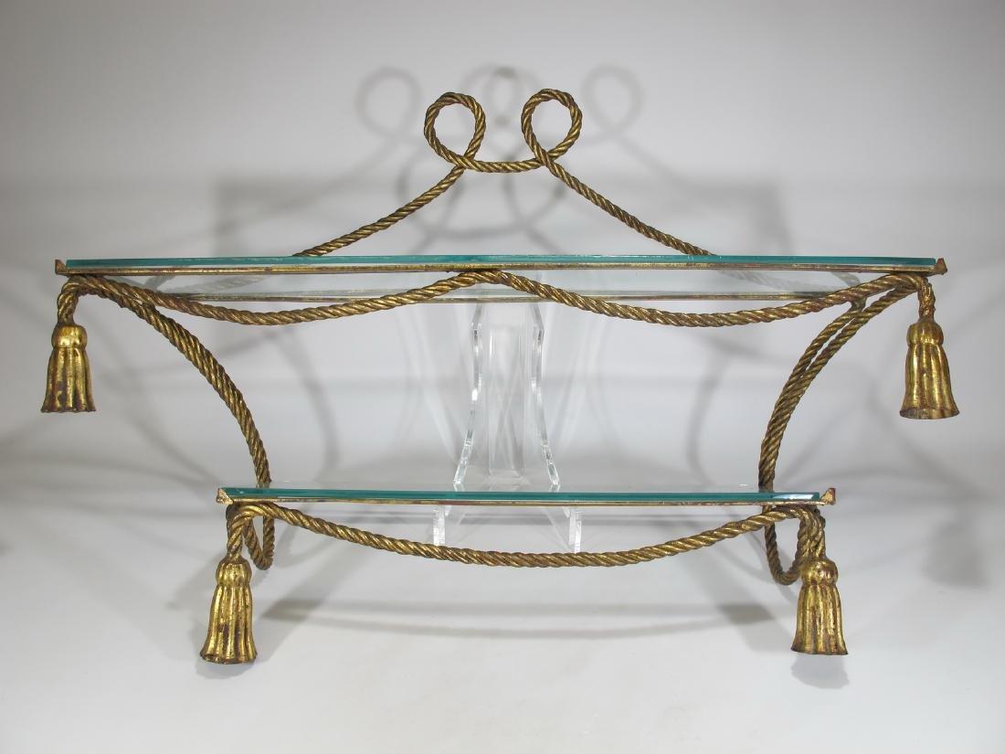 Vintage gilt metal or iron and glass wall shelf