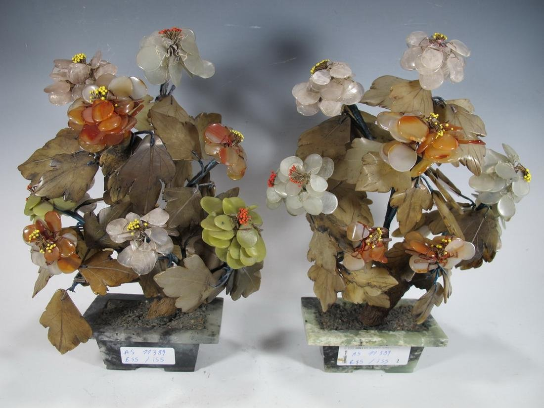 Antique Japanese pair of stones Bonsai tree  sculptures