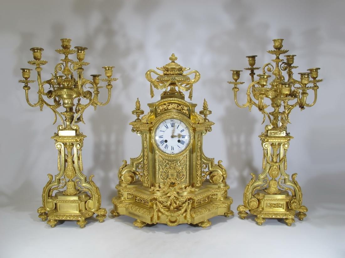 Antique Dufaud, Paris, E. Lourdelet gilt bronze clock
