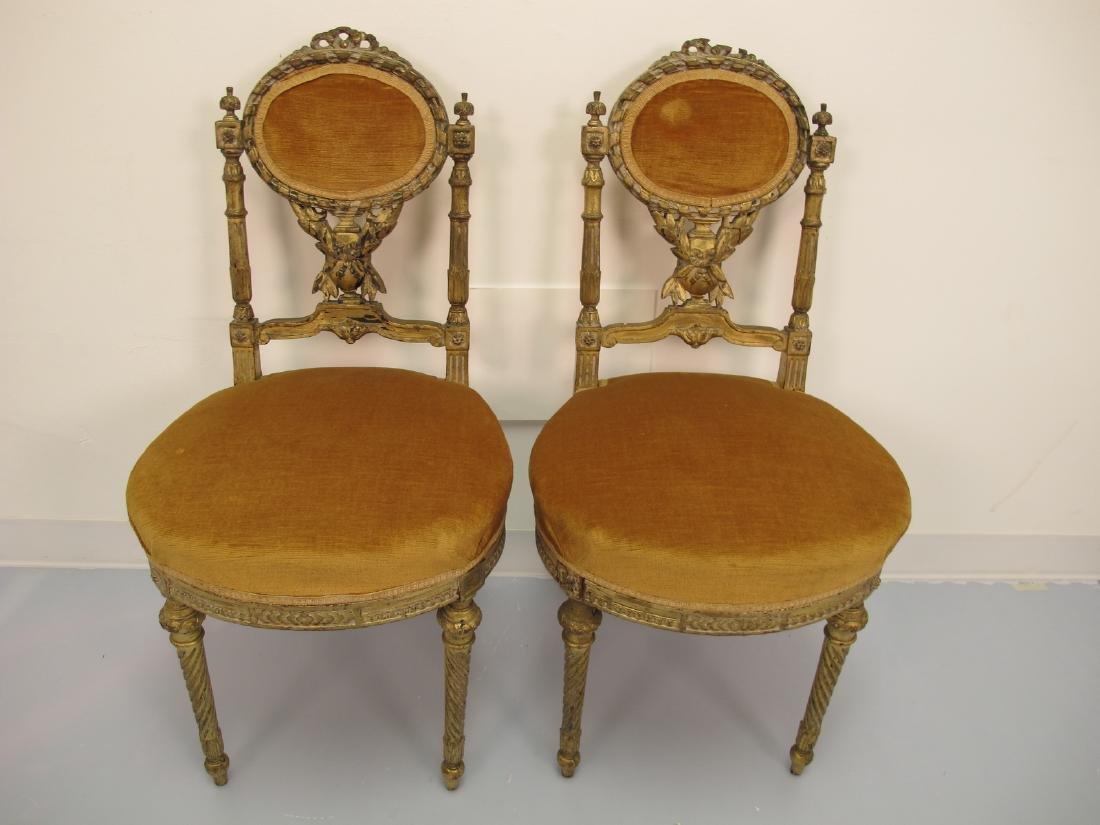 Antique pair of French gilt wood & velvet bedroom