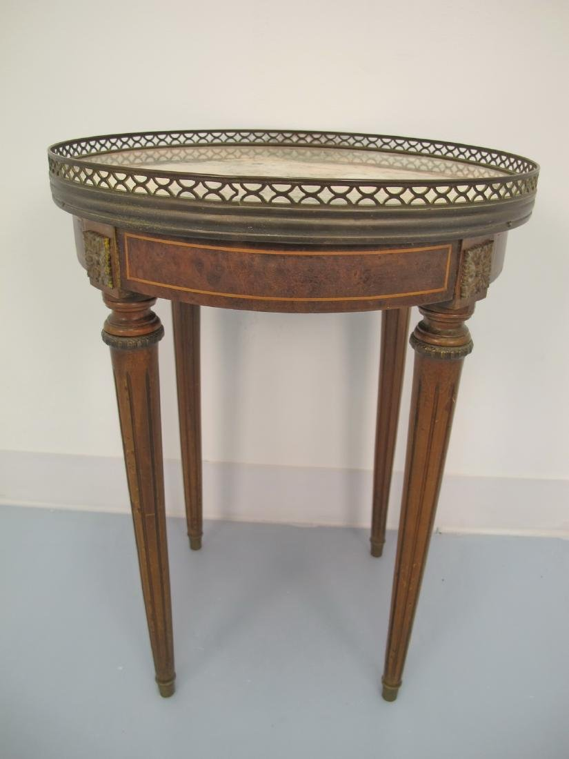 Vintage French Louis XVI style marble top & bronze side
