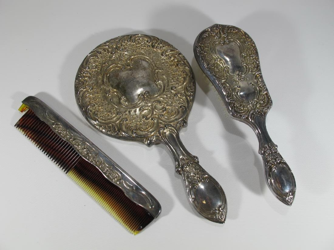 Antique silverplated vanity set