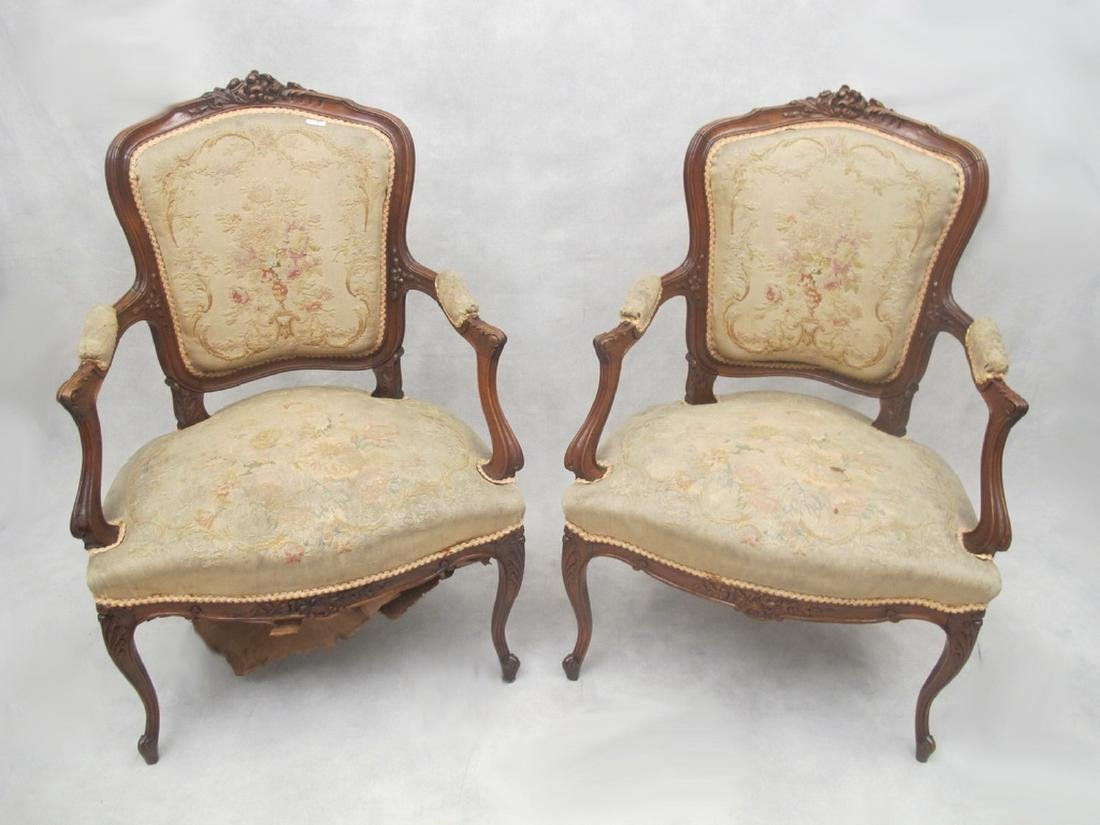 Antique French Louis XV gobelin pair of armchairs