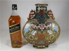 Chinese Qing Dinasty Dragon handle cloisonne vase