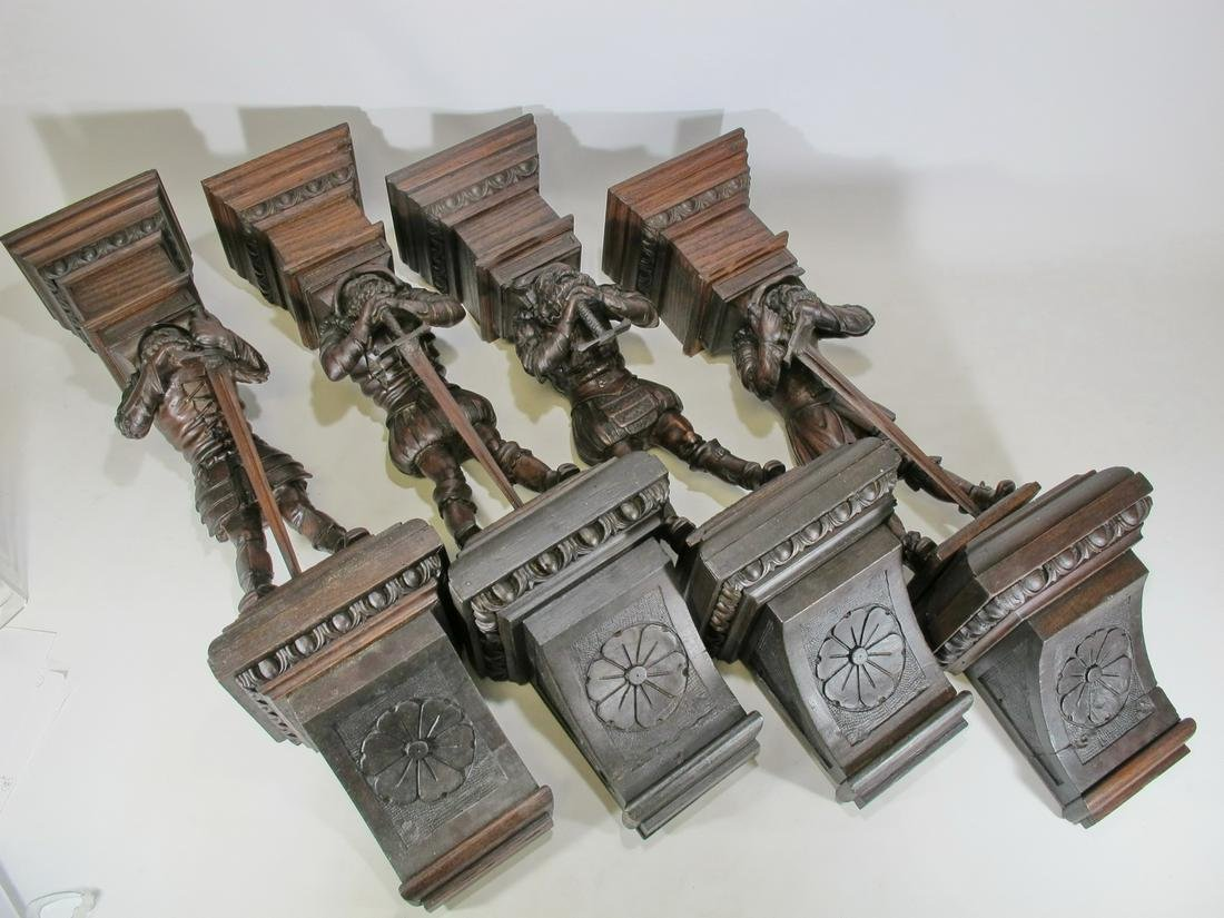 Antique set of 4 carved wood wall statues