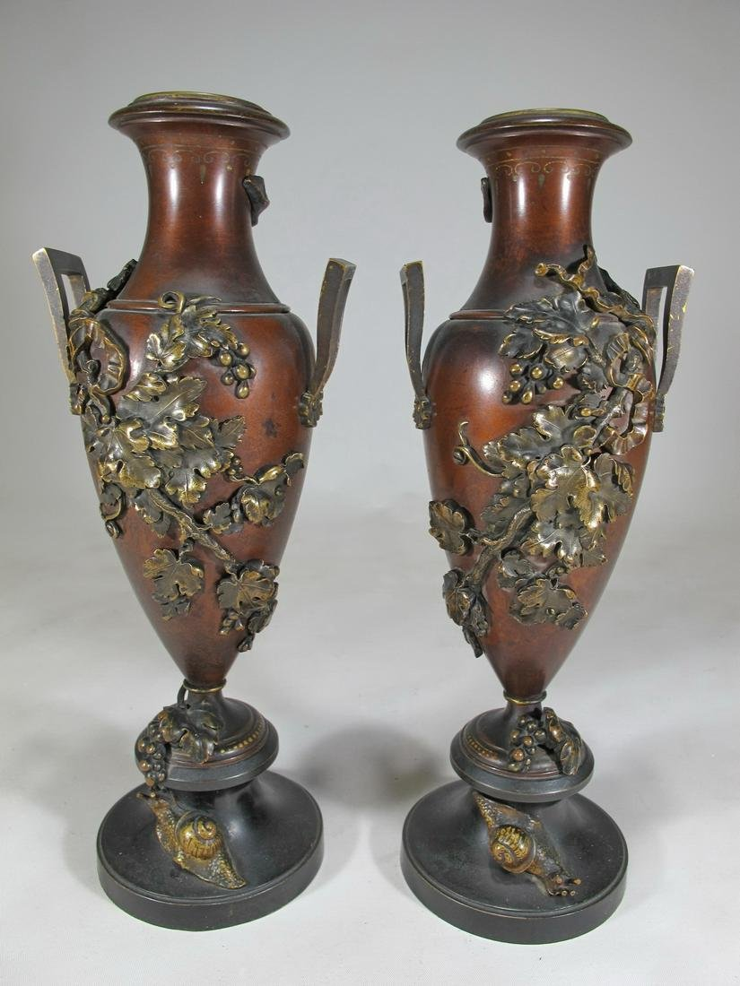 19th C French pair of bronze urns