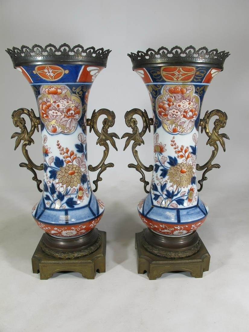Antique Japanese Imari pair of bronze & porcelain vases