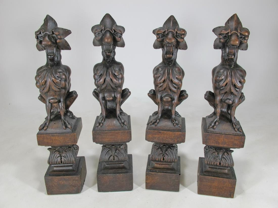 Antique set of 4 Gothic carved wood statues