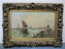 V. DELMAR (XIX) oil on canvas seascape painting