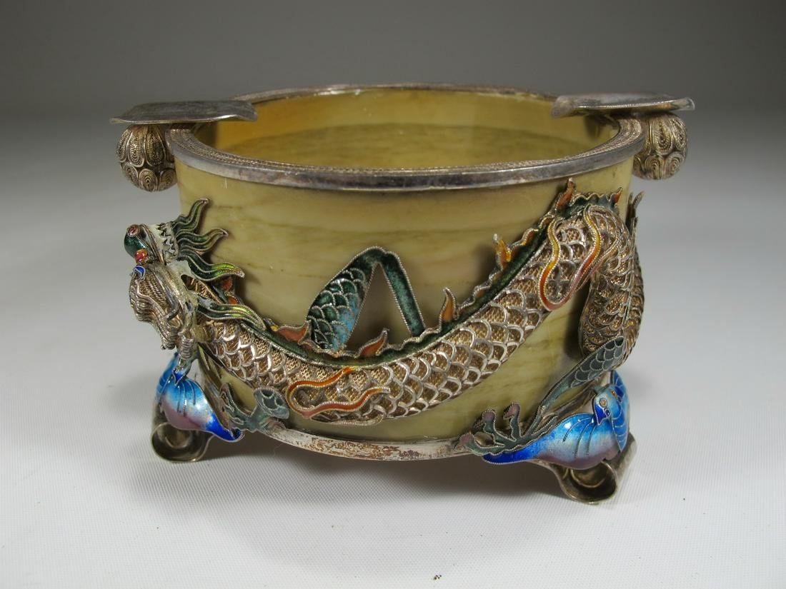 Antique Chinese Export silver, probably jade & enamel
