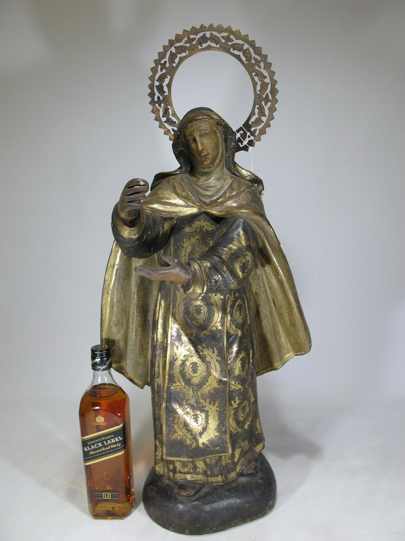 19th C gilt carved wood & bronze Religious statue