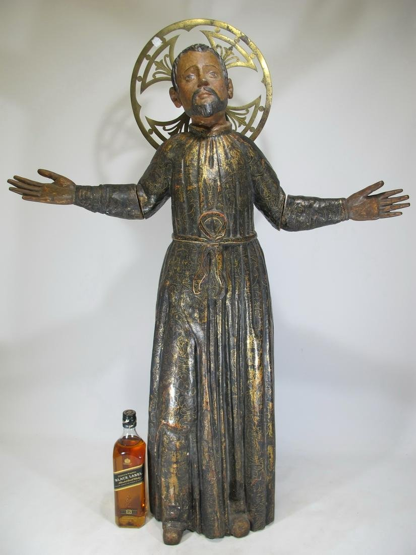 Large 19th C gilt carved wood Religious sculpture