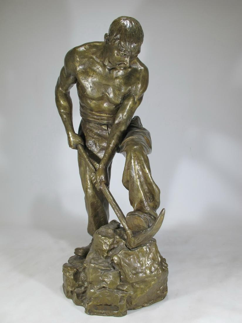 Paul MOREAU-VAUTHIER (1871-1936) miner bronze sculpture