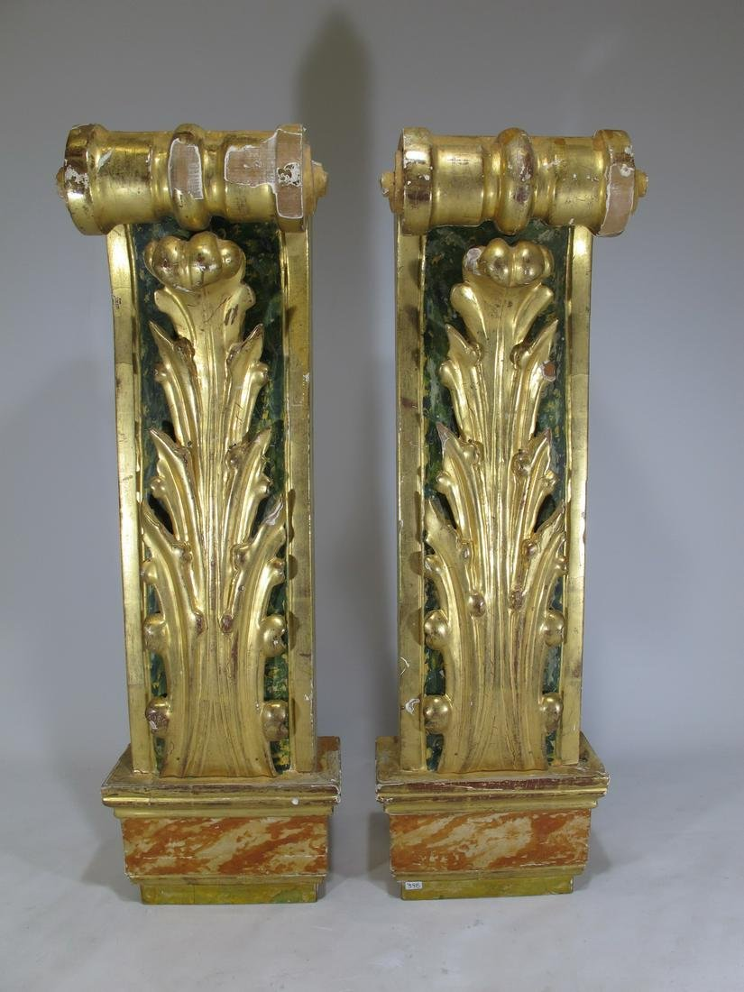 Antique European pair of gilt wood ornaments