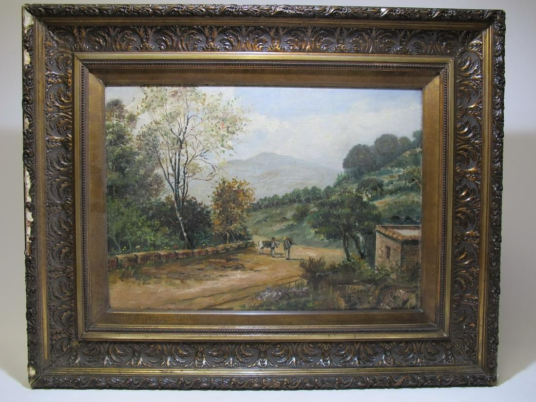 Signed Datolo, 1906 oil on board landscape painting