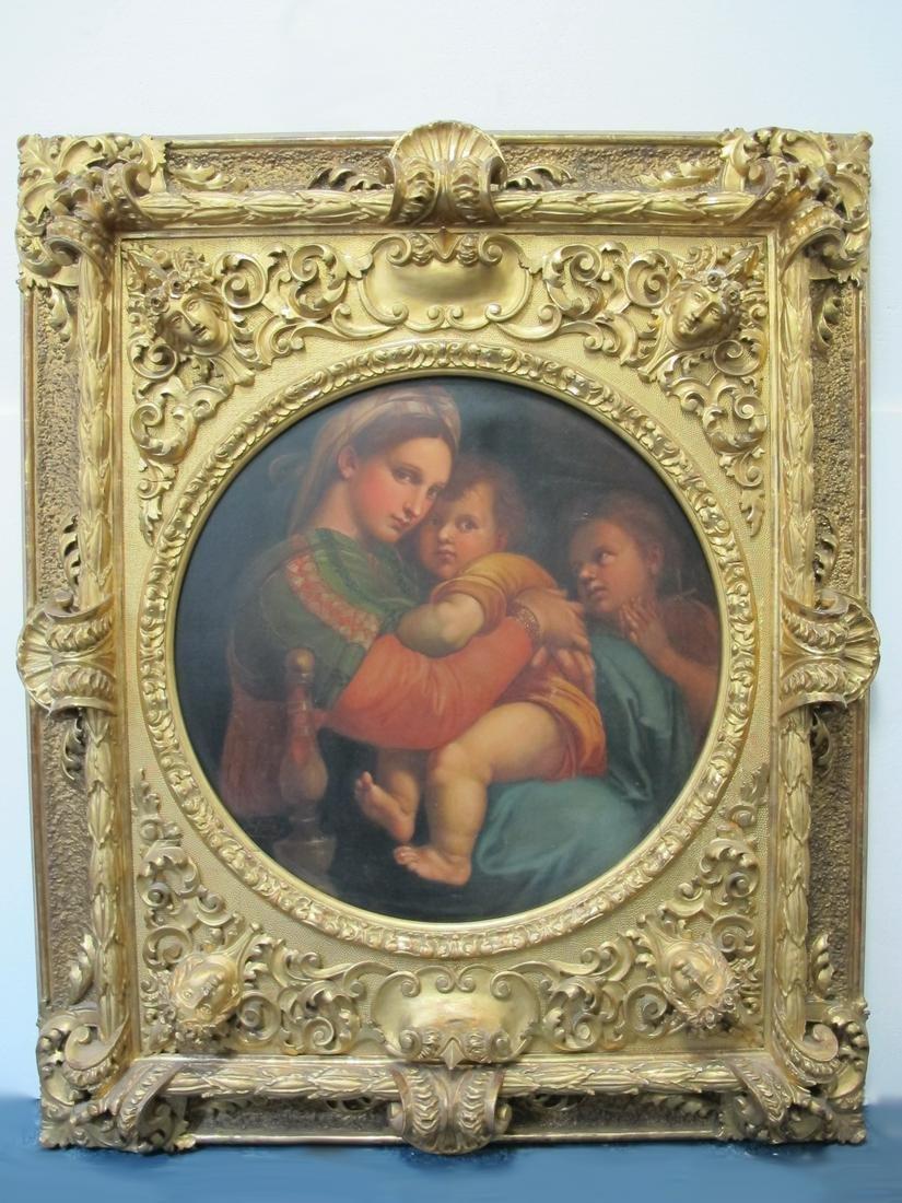 Large antique Italian madonna & child oil on canvas