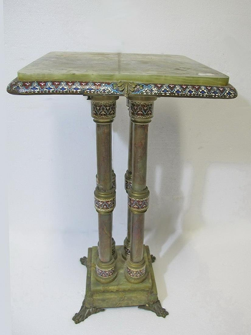 Antique French onyx & bronze champleve table