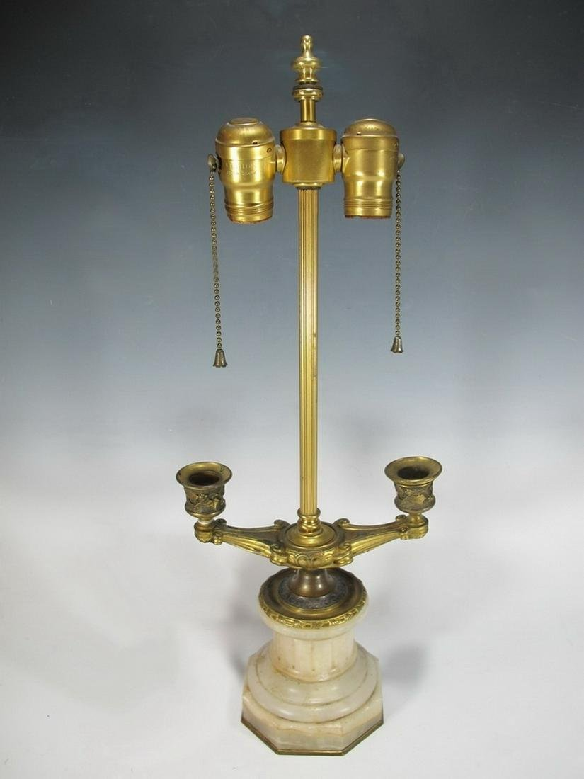 Antique French alabaster & bronze lamp