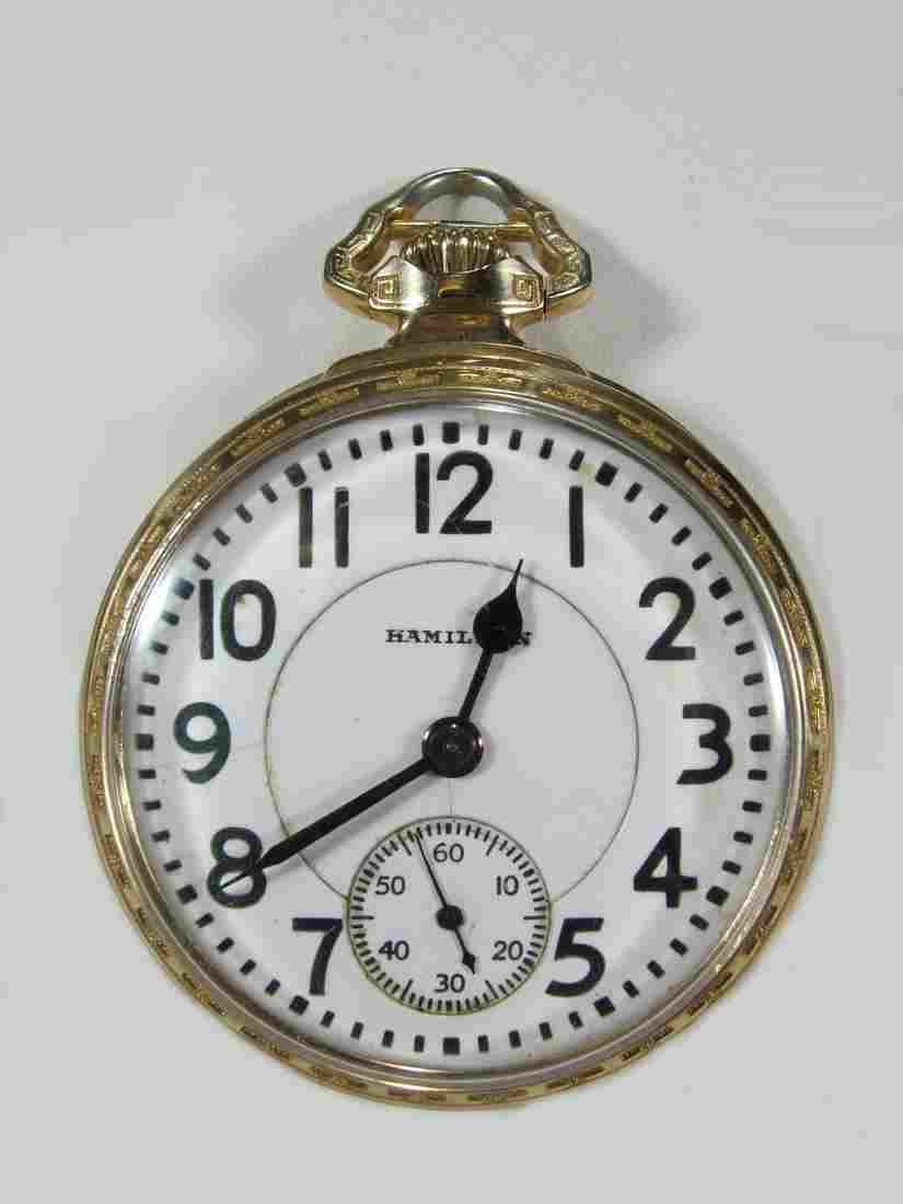 Hamilton Watch Co 14 k gold filled pocket watch