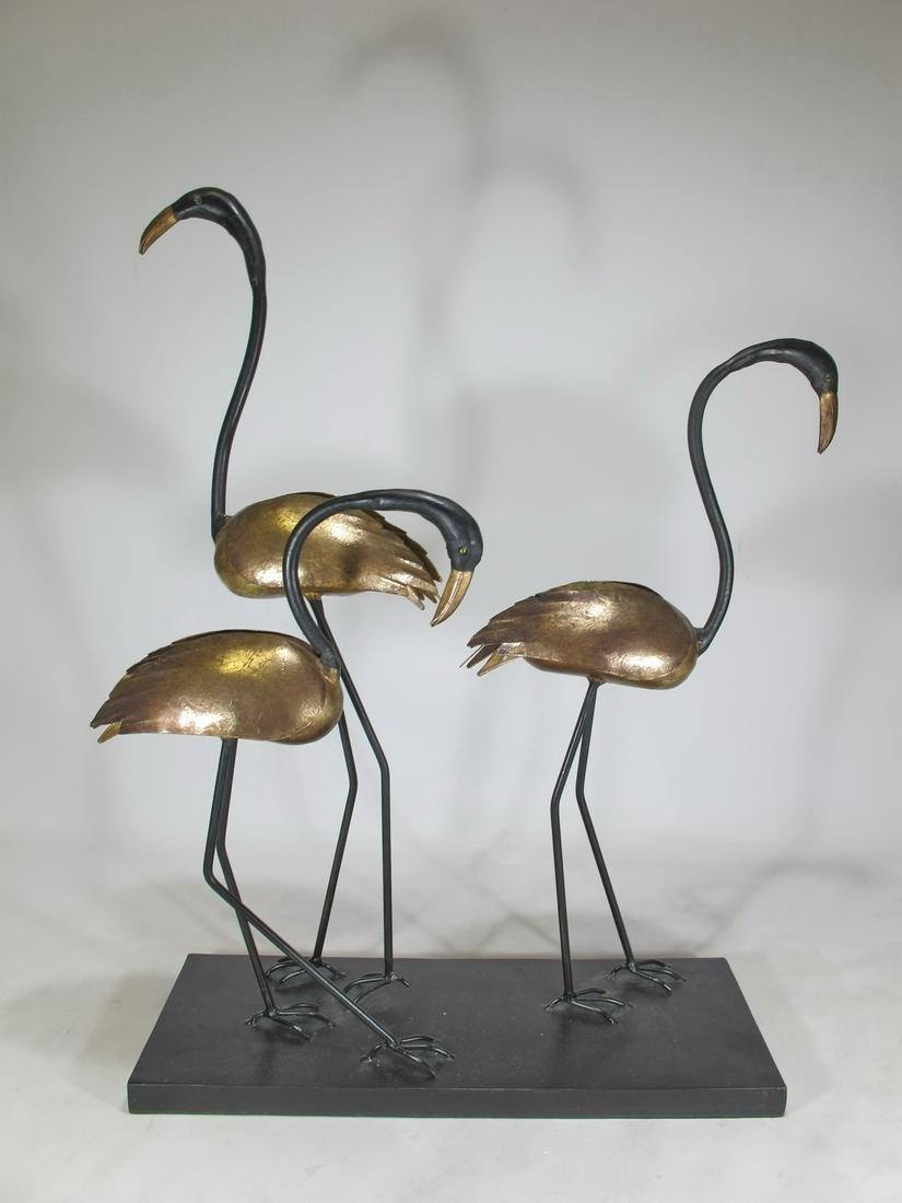 Mid Century herons metal sculpture