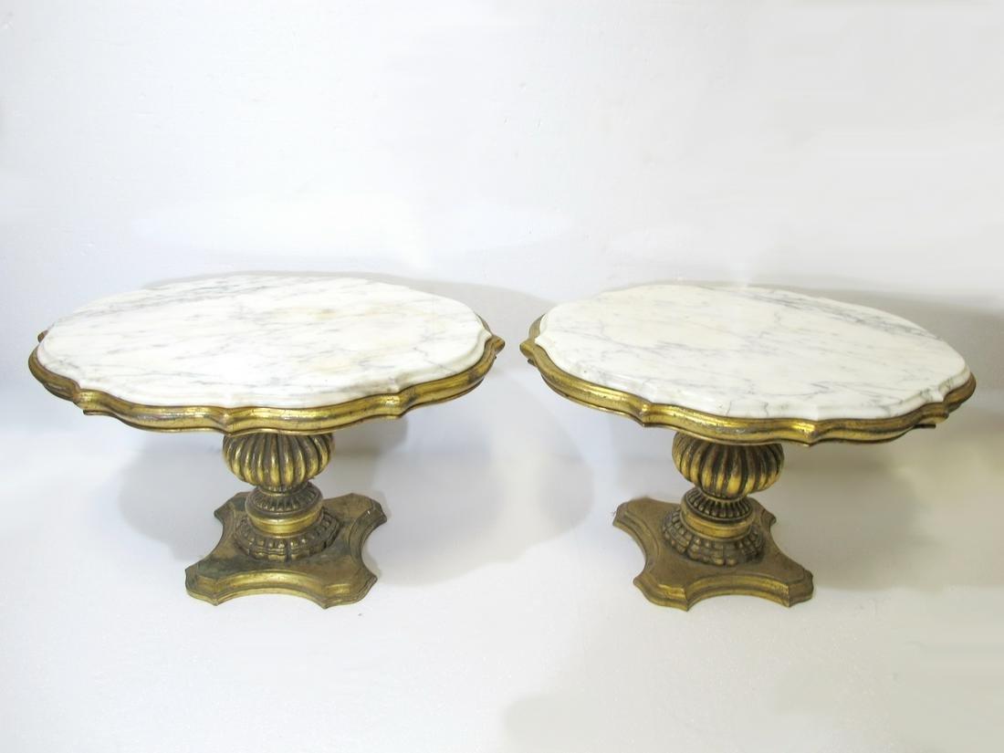 Vintage Italian pair of gilt wood & marble side tables