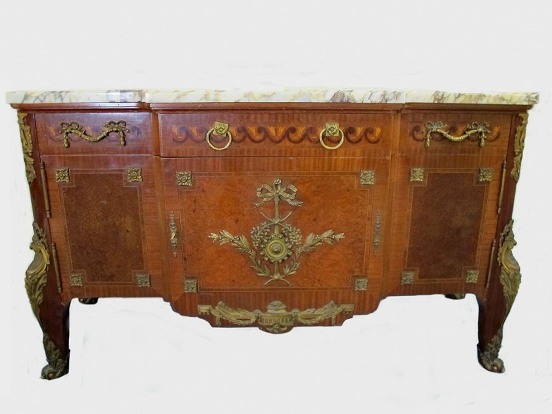 19th C French inlaid & bronze marble top commode