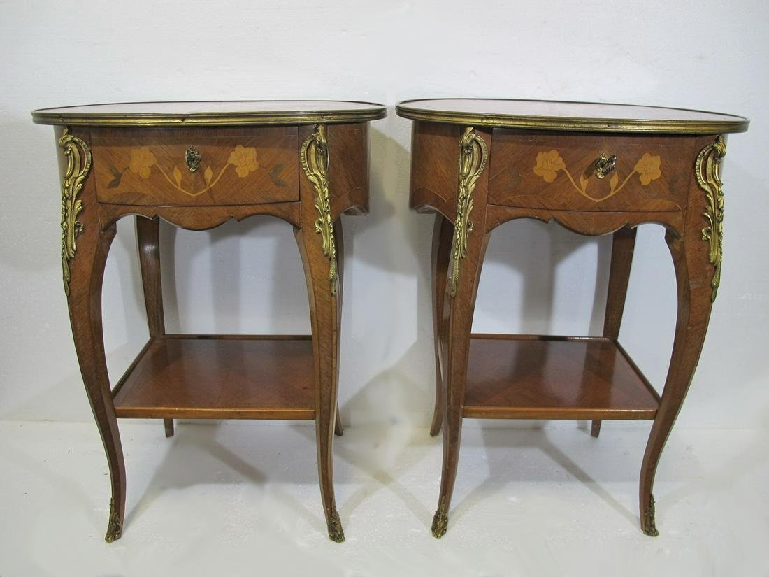 Vintage pair of French Louis XV style side tables