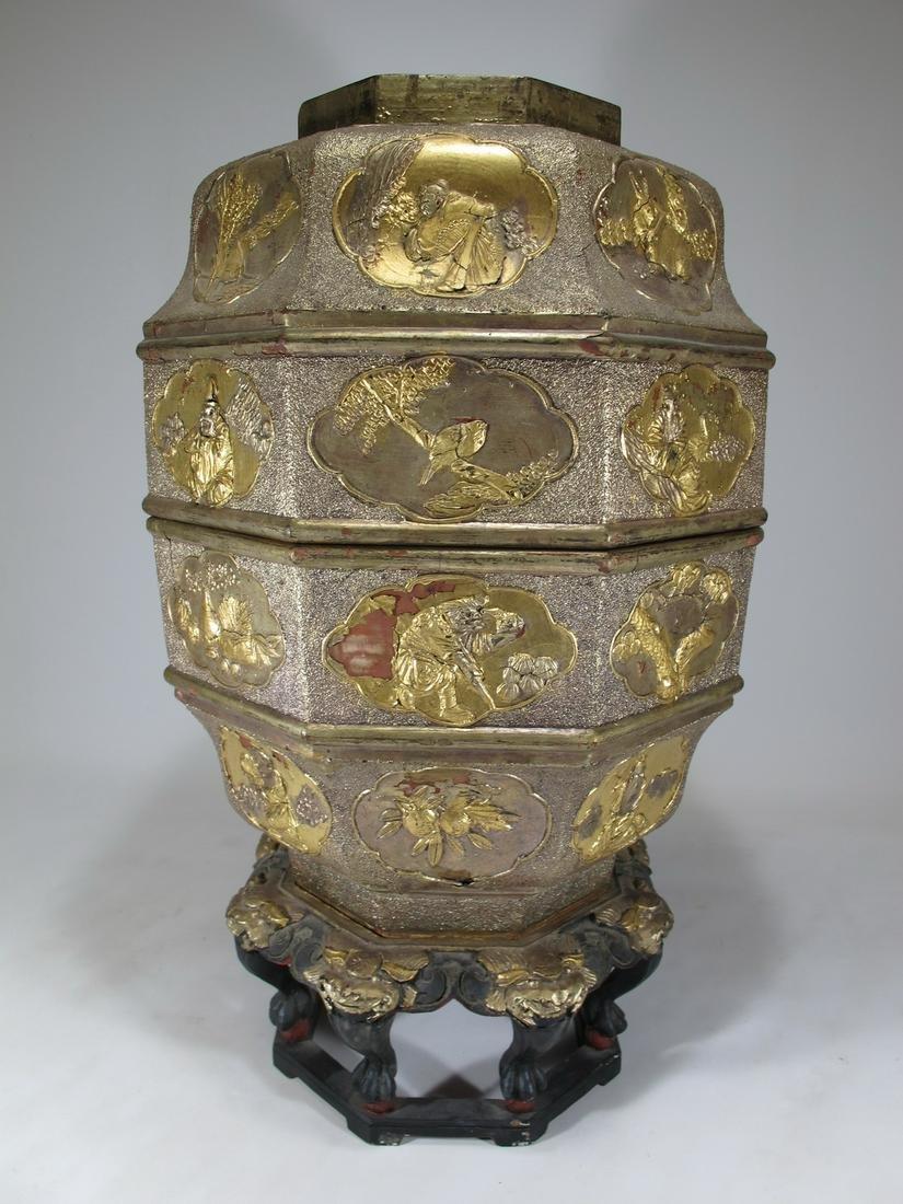Antique chinese gilt wood hexagonal wedding box
