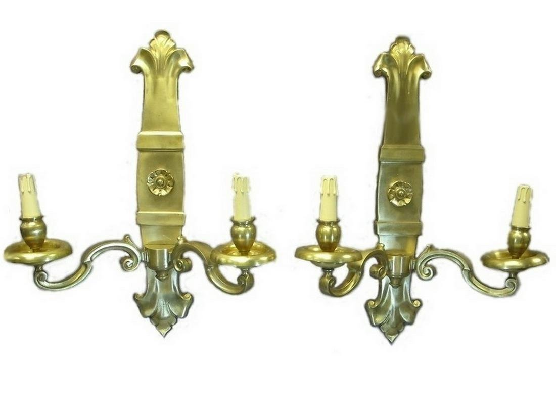 Huge French pair of bronze wall sconces