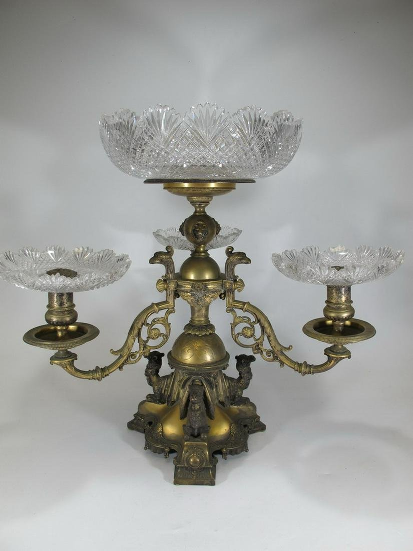 Antique Egyptian gilt metal & crystal fruit stand