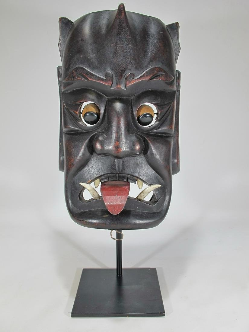 Antique articulated Japanise wood mask
