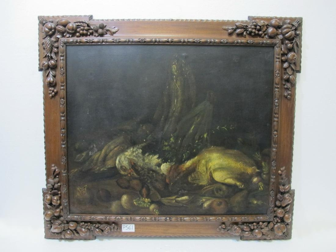 19th  C European oil on canvas painting. ca 1876