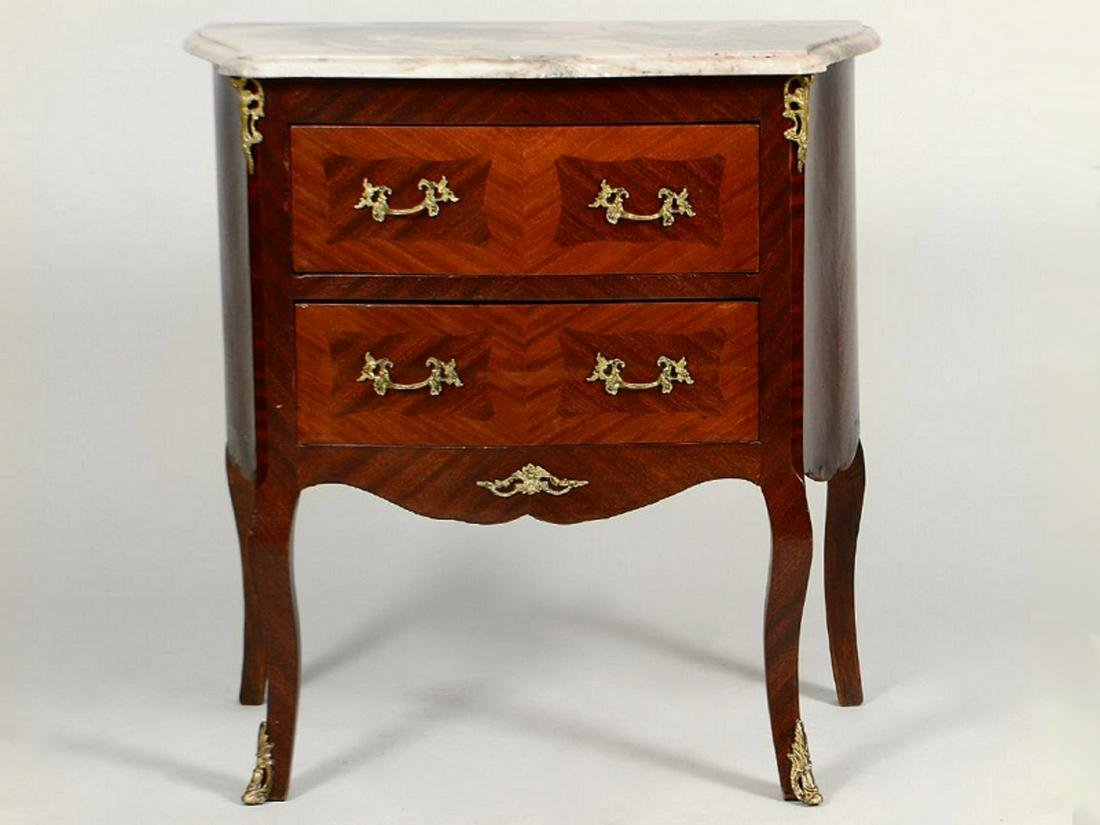 Vintage French Louis XV style marble top small chest