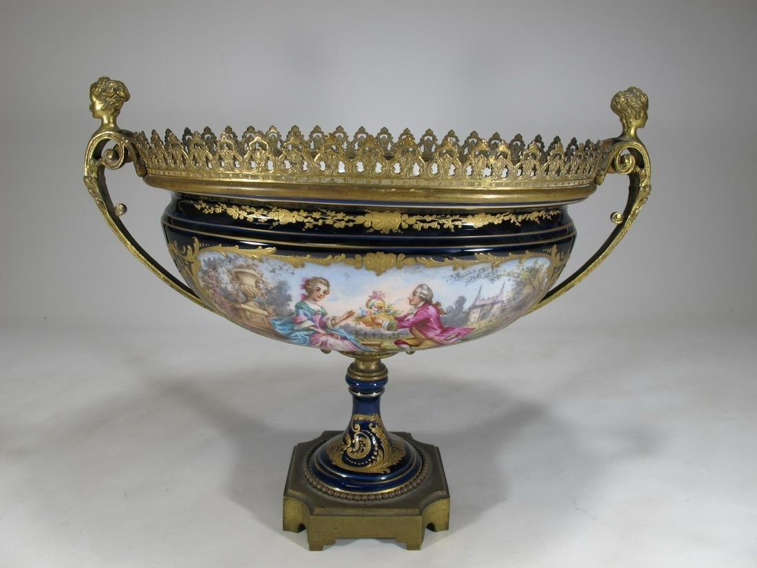Antiqque French Sevres porcelain & bronze centerpiece