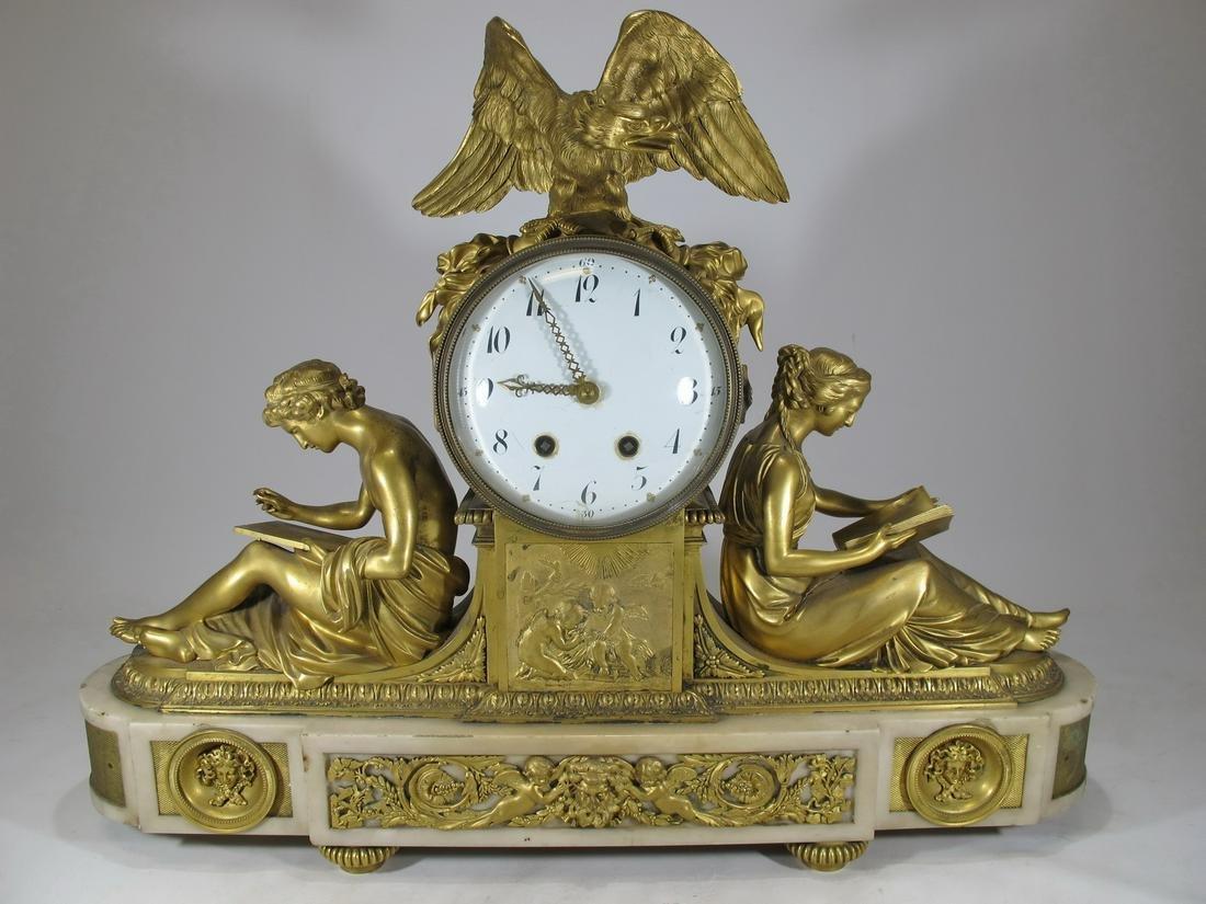JUST CH Paris antique bronze & marble mantel clock