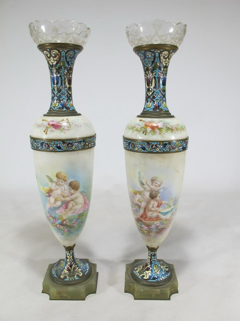 Antique French pair of bronze champleve, glass &