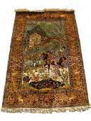 Vintage silk & cotton rug from India