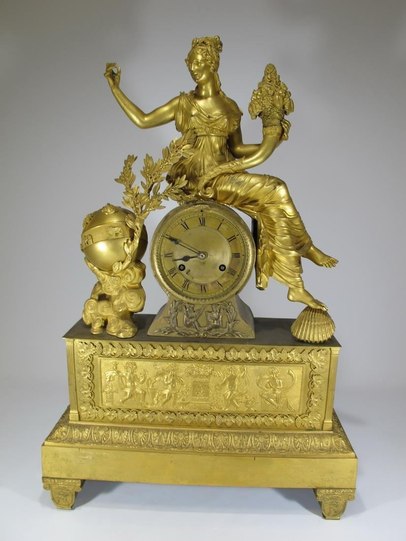 19th C French gilt bronze mantle clock