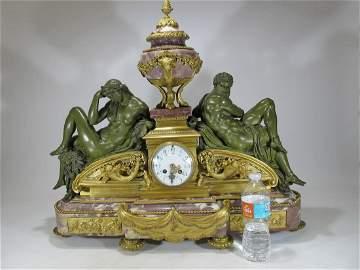 Vincenti, Paris huge bronze & marble mantel clock
