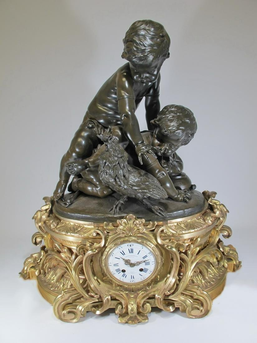 Amazing 19th C huge French gilt bronze clock