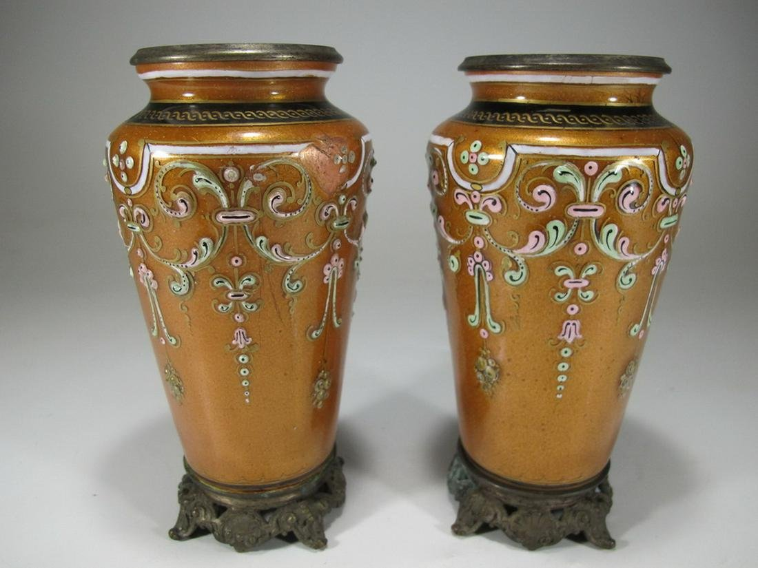 Antique pair of French bronze silvered & enamelled