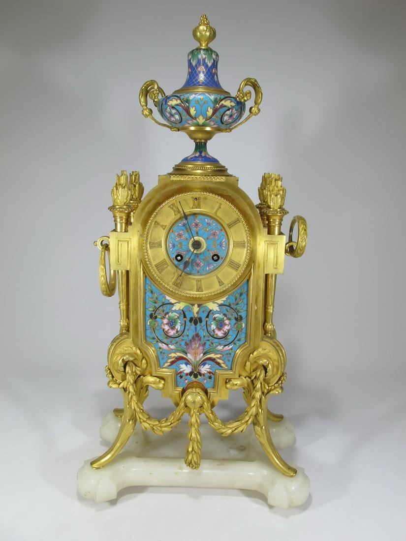 19th C French Japy Freres bronze champleve clock