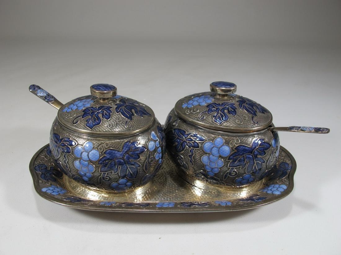 Antique Chinese Export silver & enamel set