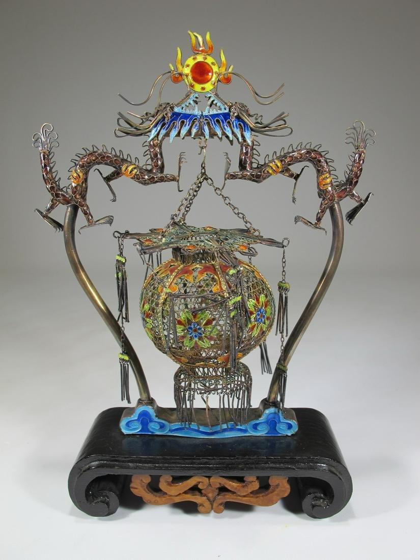 Chinese Export filigree silver, jade & enamel cage