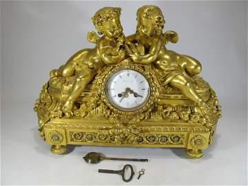 Bourdin A Paris 19th C gilt bronze clock