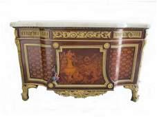 Huge antique Linke quality ormolu inlaid chest