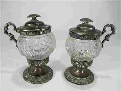 Antique German pair of silver glass pots